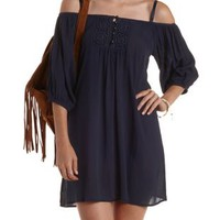 Navy Cold Shoulder Button-Up Shift Dress by Charlotte Russe