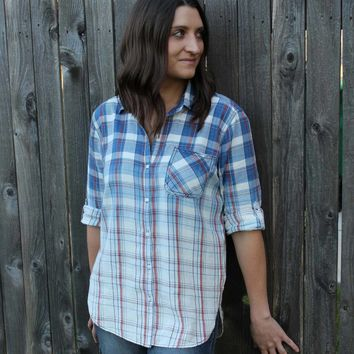 Ombre Plaid Buttondown Shirt - Blue
