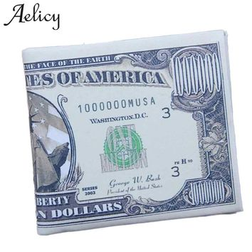 Aelicy New High Quality Luxury US Dollar Bill Wallet Brown Leather Wallet Bifold Credit Card Photo small wallet for credit cards