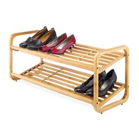 Whitmor 2-Tier Bamboo Shoe Rack (Brown)