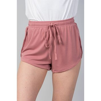 Ladies fashion dusty rose drawstring waist comfortable shorts