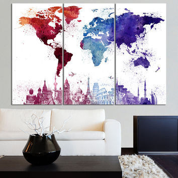 Large Canvas Art WORLD MAP and Wonders Paint Splash - Splatter World Map Wall Art Canvas Painting