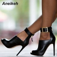 Aneikeh Gladiator Women high heel pumps Ladies Sexy Buckle Strap Roman Open Toe Sandals Party