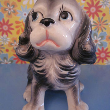 Adorable Vintage 1950's Puppy Dog Spring Planter, Porcelain Collectible Made in Japan Great Gift for a Dog Lover
