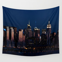 NYC Sunset Wall Tapestry by JU.LIO