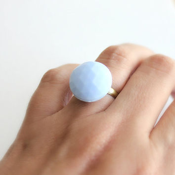 Baby Blue Faceted Glass Cabochon Adjustable Ring. Summer. Wedding. Bridesmaids Favors. Affordable. Bohemian. Boho.