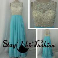 Sparkly Beaded Illusion Top Nude Aqua Long Open Back Chiffon Prom Dresses 2015 for Juniors, Blue Iridescent stones Beaded Top Long Dress