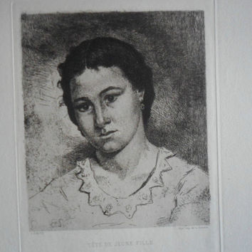 Fine Art Etching - Tete de Jeune Fille by Eugene Joseph Henri Smits - 1875 on hand-laid paper uncut, original and rare. Head of Young Woman