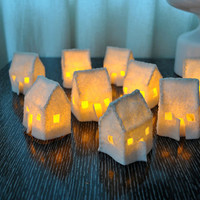 Set of 3 Mini Felt House Luminaries
