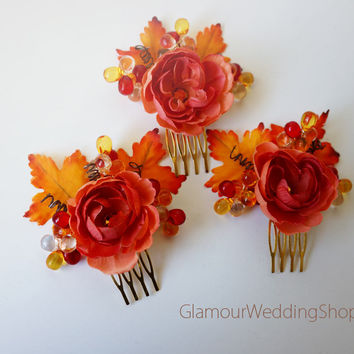 Wedding Hair Comb Fall Wedding Hair Comb Wedding Jewelry Bridal Hair Comb Bridesmaid Comb Bridal Jewelry flower girl Wedding Accessory