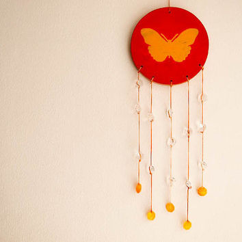 Sun Catcher Mobile - Butterfly - With Painted Yellow Butterfly and Small Sparkling Crystal Prisms - Home Decor, Nursery Mobile