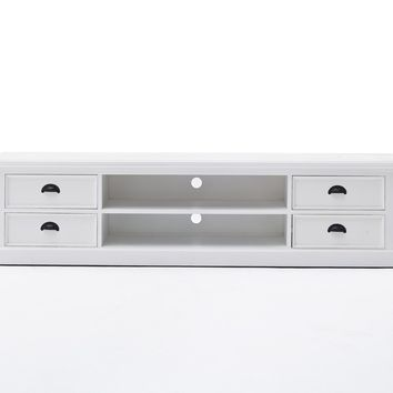 Halifax Large Entertainment Unit with 4 drawers White semi-gloss