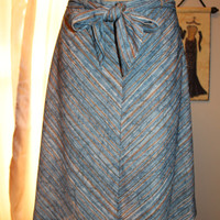 handmade vintage skirt bow tie waist blue brown crinkle look circle skirt 60s 70s