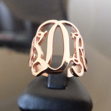 Monogram Ring. Personalized 925 ct Sterling Silver
