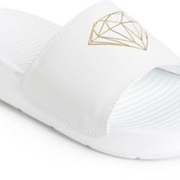 Diamond Supply Co. Fairfax White & Gold Slides
