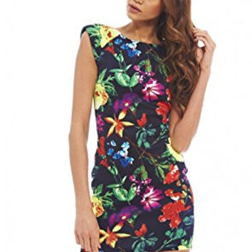 Black Colored Floral Capped Sleeve Scoop Back Mini Dress