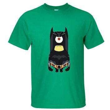 CRAZY POMELO Cute Minion Batman Cartoon Print Men's Short Sleeve T-shirt