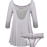 Custom Name Embroidery Tent Dress & Panty 2-Pack Set in Light Grays