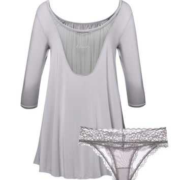 Custom Name Embroidery Tent Dress & Panty 2-Pack Set in Light Grays – Preorder