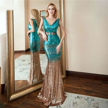 dress Hollow Evening Dress Sexy Luxury Gold Blue Long Sequin robe longue prom gowns