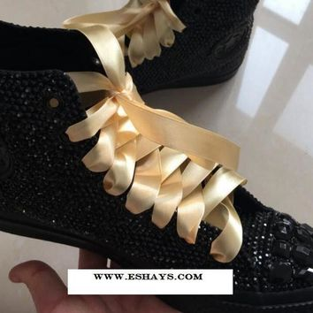Black Crystal High Top Converse with Gems and Ribbon Laces