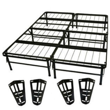 Queen size Metal Platform Bed Frame with Headboard and Footboard Brackets