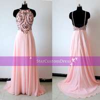 Blush Long Bridesmaid Dress Halter Chiffon Dress Long Bead Open Back Prom Dress