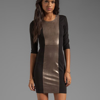 Mason by Mason by Michelle Mason Leather Inset Dress in Black