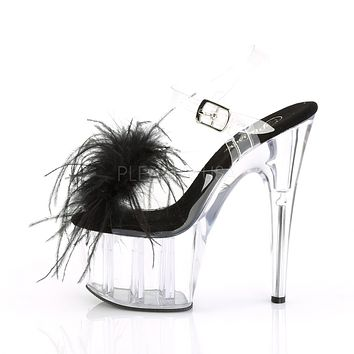 "Adore 708MF Clear Ankle Strap Upper Marabou Feather 7"" High Heels"
