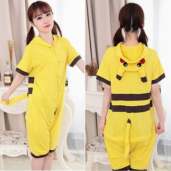 Summer Pajama Set Women Print Cosplay Costume Cartoon Animal Onesuit For Adult Panda Pikachu Hoodie Short Sleeve Homewear leisure