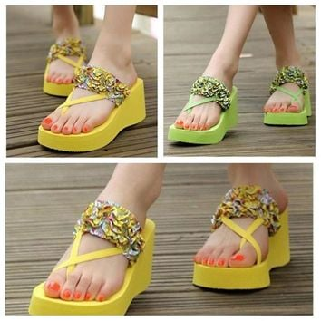New Fashion Bohemian Slippers Stain Floral Wedge Heeled Flip Flops Summer High Platfor