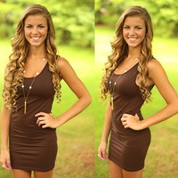 Perfect Layers Seamless Tank Dress in Chocolate