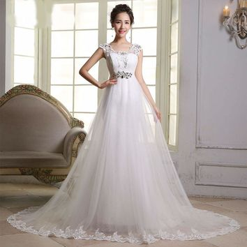 White Long Wedding Dress Scoop Sleeveless Wedding Gown Bride Dresses