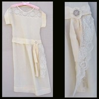 1920s Silk Wedding Gown Size Large Bust 36 Lace & Rhinestones.