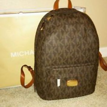 NWT Michael Kors Jet Set Brown MK Signature Logo Backpack Large PVC One Size