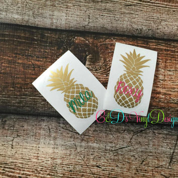 Pineapple Decal - Pineapple Monogram Decal - Monogram Pineapple Car Decal - Monogram Car Decal - Monogram Decal - Monogram Pineapple Decal
