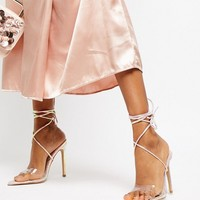 Public Desire Glamour iridescent ankle tie heeled sandals at asos.com