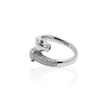 Twisted Panther Ring in Silver