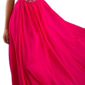 CLEARANCE - Fuchsia Formal Chiffon Gown Flowy Strapless Empire Waist (Size Large)