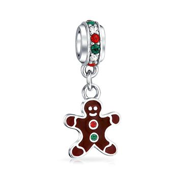 Christmas Gingerbread Man Cookie Dangle Charm Bead Sterling Silver