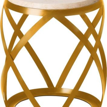 Knox Metal Stool/Table Powedercoated Gold With A White Granite Top