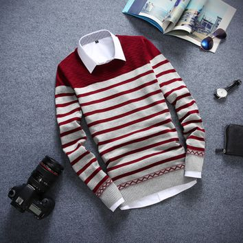 Striped Men's Comfortable Knitted Sweater Knitwear