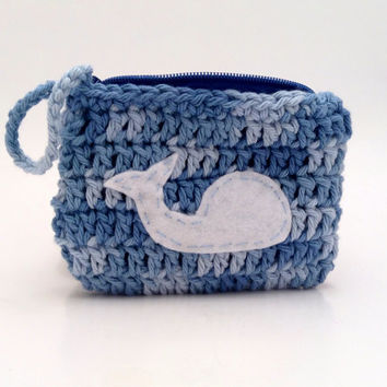 Crochet Blue Coin Purse with Whale Whale Coin Purse by Parachet
