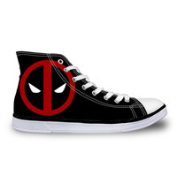 Super Hero Deadpool Printed Shoes For Men Fashion Boy Student High-top Canvas Shoes