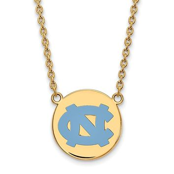 NCAA 14k Gold Plated Silver North Carolina Enamel NC Pendant Necklace