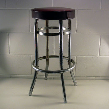 Vintage Metal Kitchen Chair Chrome Retro Bar Stool Red