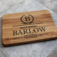 Monogram Custom Cutting Board Wedding Gift Personalized Chopping board Valentines gift Custom Cutting Board Gifts for Wedding Couple Gift