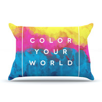 "Galaxy Eyes ""Color Your World"" Rainbow Paint Pillow Sham"