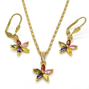 Gold Layered 10.283.0006 Necklace and Earring, Flower Design, with Multicolor Cubic Zirconia, Polished Finish, Gold Tone