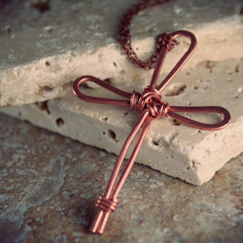 Cross Necklace - Copper Cross - Copper Jewelry - Handmade Cross - Handmade Jewelry - Handmade Necklace
